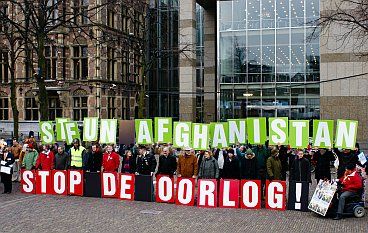 The demonstrators gather in front of the parliament building in The Hague.