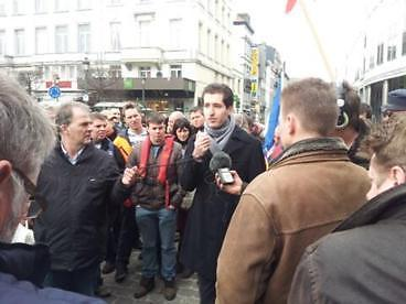 Farshad Bashir addresses demonstrators