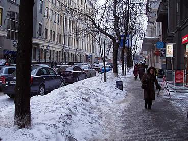 Winter street-scene in Kiev