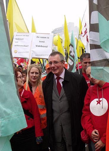 Dennis de Jong tijdens vakbondsdemonstratie